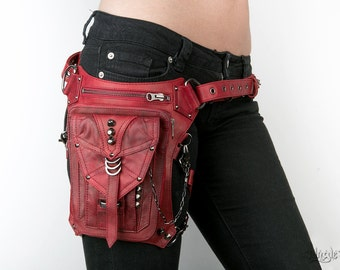 BLOODY PENNY Red Leather Holster and Hip Bag