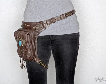 Vintage Vibes brown leather waist bag - Turquoise  and brass detailing