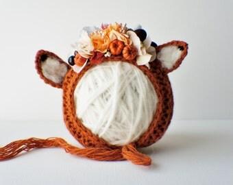 Flower Bonnet, Floral Bonnet, Garden Bonnet, Fox Bonnet, Sitter Bonnet, Fall Bonnet, Christmas Bonnet, Baby Photo Prop, Newborn Photo Prop,