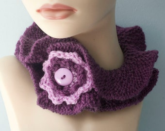 Ruffle Cowl Scarf,  Chose Color, Flower Buttoned Neck Warmer, Stay in Place Scarf, Vegan Scarf