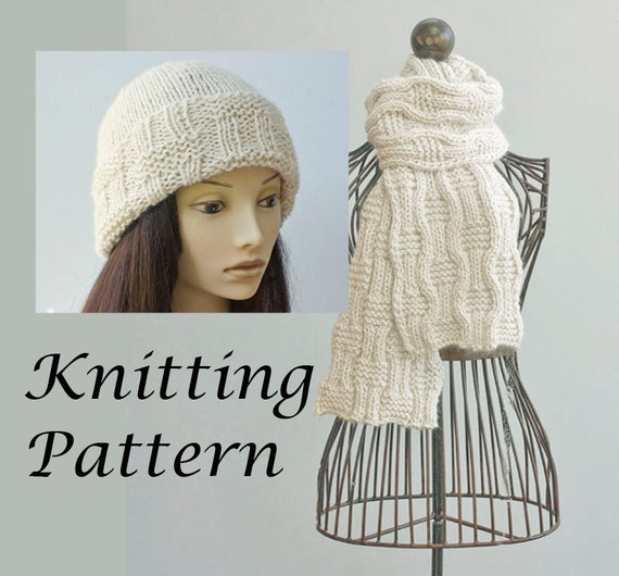 Knitting Patterns For Scarves And Beanies : Two Knitting Patterns Knit Hat Pattern Knit Scarf Pattern
