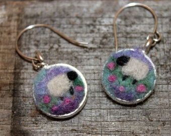 Felted Sheep Earrings, Sheepscapes Dangle Earrings, Needle Felted Sheep Earring, Silver Sheep Earrings # 1692