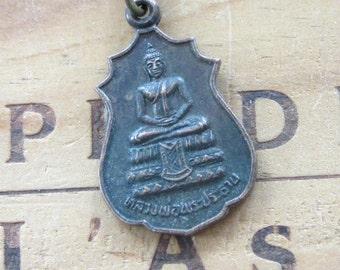 Vintage Buddha Buddhist Medal Necklace