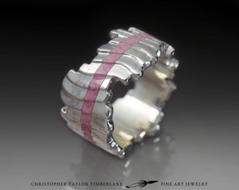Cuttlefish Cast Sterling Silver and Rhodonite Ring