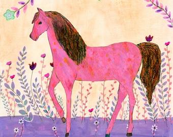 Children Wall Art, Horse Art Print, Horse Painting, Horse Nursery Wall Art, Nursery Decor, Horse Decor, Kids Wall Art, Kids Room decor