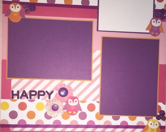 Premade 12 x 12 Scrapbook Page HAPPY Scrapbook Layout