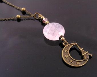 Crescent Moon Pendant with Eiffel Tower Charm Necklace, Paris Necklace, Moon Necklace, Rose Quartz Necklace, Moon Charm, N1467