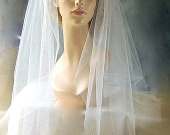"Bridal Wedding Fingertip Veil, Bridal Veil 36"" Single Layer, Illusion Tulle"