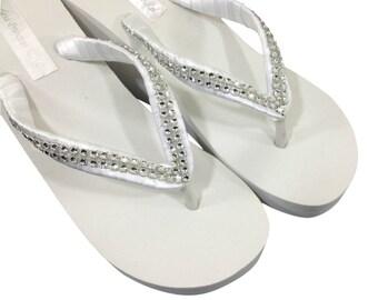 Wedding Flip Flops - Bridal Wedge Flip Flops - Bridal Sandals - Platform Flip Flops - Rhinestone Flip Flops - Beach Wedding - Custom Colors