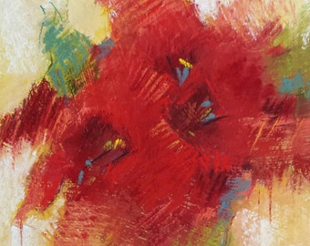 """Small Original Pastel Painting, Floral Abstract, Red Painting, 6 x 6"""", Unframed, Wall Art"""