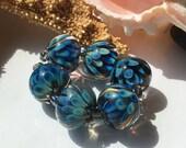 Handmade Lampwork Glass Beads SRA Ocean Blue Blooms Encasement Florals (6)