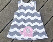 Girls Spring Dress - Elephant Themed Birthday -  1st Birthday Dress - Toddler Girl Dress - Groovy Gurlz