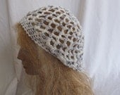 SALE - Purple and White Lacey Slouchy Beret/Tam/Dreadlock Hat (5259)
