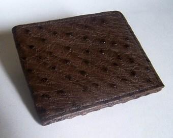 Brown Leather Wallet - Genuine Brown Ostrich Bifold Wallet