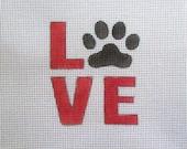 LOVE Dog Paw Print Handpainted Needlepoint Canvas