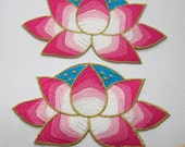 "2 Pieces of Embroidered Lotus Flower Iron On Patches 5.5"" x 3"""