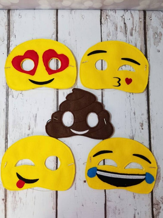 Emoji Costume Halloween Masks - Felt Half Mask