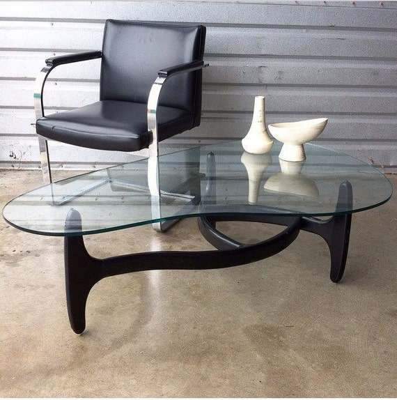 Vintage Adrian Pearsall Style Coffee Table Kidney Shaped Glass