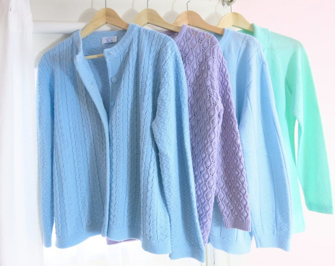 1960s Sweaters/Cardigans Pale Blues Greens Lilacs Various Sizes
