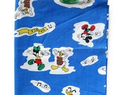 1970s Vintage Novelty Disney Fabric - Mickey Mouse Donald Duck Pluto Minnie Mouse Dancing - Cotton Fabric
