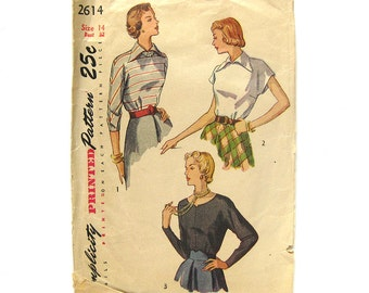 1940s Vintage Sewing Pattern - Simplicity 2614 - Misses' Back Button Blouse / Size 14