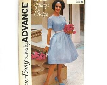 1960s Shirtwaist Dress Pattern  Pin-tuck Bodice with Full Skirt and Self Belt Loretta Young's Choice Advance 2892 / Uncut FF / Size 14