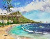 WAIKIKI BEACH SURFING Framed Original Oil Painting Art Hawaii Tropical Ocean Surfers Island Tourist Vacation Diamond Head Surf Waves Oahu