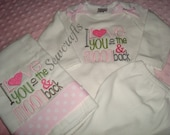 ON SALE Love You To the Moon Baby Gown and/or Burp Cloth  0-3 months Ready To Ship  - Home coming from Hospital