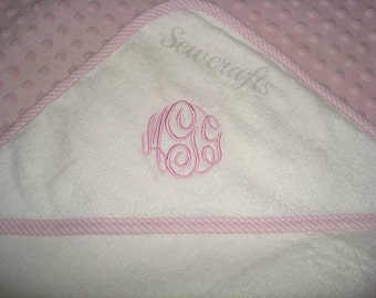 Ian Personalized Hooded Towel - with White edging or  Pink striped  Blue striped or Red striped Edging  Name or up to 3 monograms