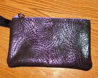 Purple Metallic Dragon Scale Pattern LEATHER Wristlet Bag