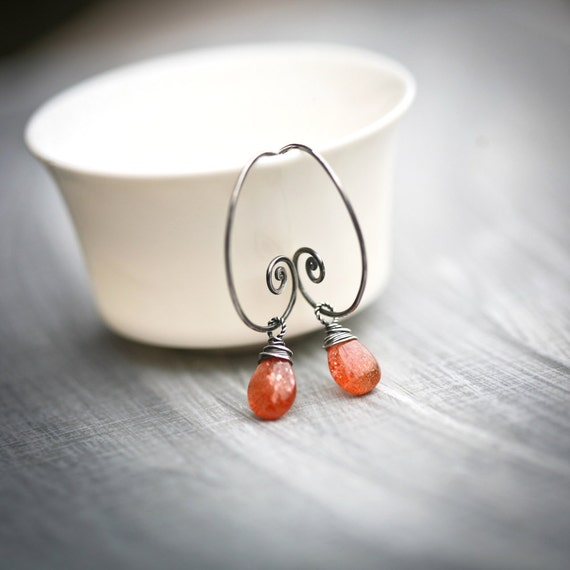 Sunstone - Wire Wrapped Smooth Briolette Sterling Silver Hoop Earrings