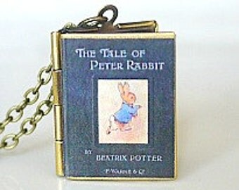 The Tale of Peter Rabbit, Beatrix Potter, Best-Selling Book, Nursery Book, Children's Book, American Fable, Book Locket Necklace