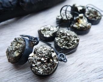 Pyrite druzy earrings | Raw pyrite earrings | Crystal earrings | Dangle earrings | Pyrite crystal earrings