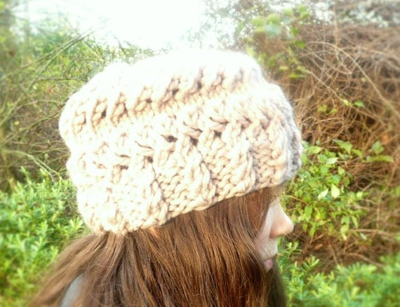 Quick & Easy Knitting Pattern Hat Super Chunky Bulky Slouch Beanie - Mauv...