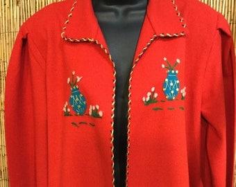 Vintage 1950s Mexican folk art jacket 100% wool