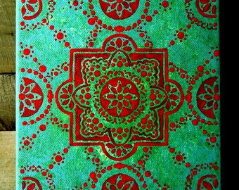 Original Artwork - Small Acrylic Painting - Green and Red Painting - Small Original Art - Boho Art - Boho Decor - Red Square Pattern