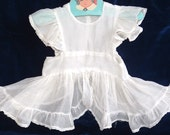 VINTAGE 1930s Baby Girl or Doll Off White PINAFORE Ruffles Back Closure