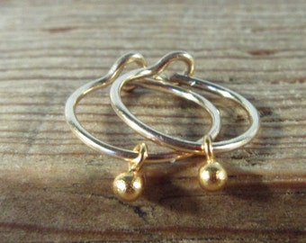 Hoop Earrings Bud Dangles Gold with Gold Dangle - Everyday Hoop, Small Hoop Earrings, Gold Hoop Earrings, Simple Hoop Earrings, Minimal Hoop