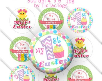 Cute My First Easter Bottle Cap Images Cupcake Bunny Collage 1 Inch Circle 4x6 - Instant Download - BC554