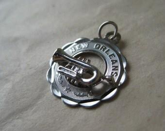 New Orleans Trumpet Horn Sterling Charm Vintage 925 Silver
