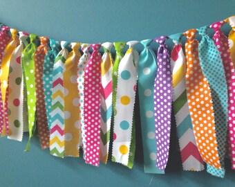 Spring EASTER Rag Banner Sweet Shop Rainbow ~1st Birthday ~Rag Tie Garland ~Birthday Banner ~Photo Prop ~Cake Smash ~Baby Shower