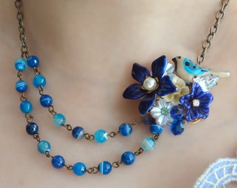 A little bird told me - NECKLACE - secret garden series blue bird with vintage parts