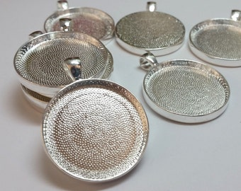 5 Tray Cabochon settings Pendant Trays Silver or Antique Bronze 30mm Round Supply Metal