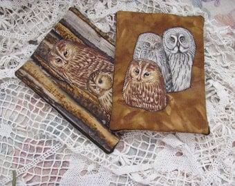 Pair Owl Trivets, Mug Mats, Pot Holders, Owl collector