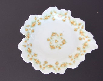 Antique Elite Limoges Leaf Dish