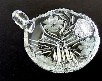 Vintage Cut Glass Nappy Dish, Loop Handle, Etched Flowers, Sawtooth Edge