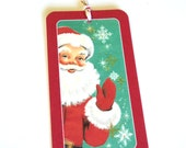 8 Christmas Gift Tags with Santa Clause Smiling and Waving, Party Favor Tags, Hang Tags, Note Tags
