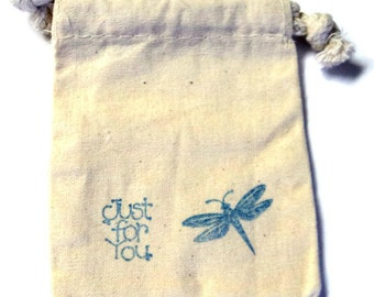 6 Muslin Bags, Blue  Just For You Dragonfly, Gift Bags, Packaging, 4x4 Inches, Hand Stamped, Party Favor Bags