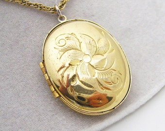 Large Vintage Floral Locket Pendant Necklace N7128