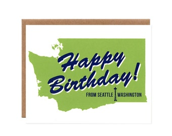 Happy Birthday from Seattle, Washington -- Green and Navy Blue Eco-friendly Card